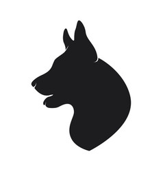 black silhouette head of the dog on background vector image
