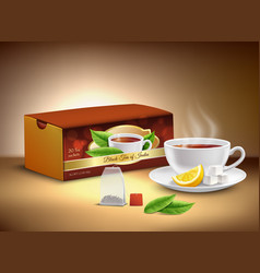 Black tea packaging realistic design vector