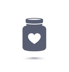 Bottle of pills with heart icon drugs vector