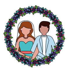 bride and groom wreath flowers wedding day vector image