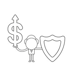 businessman character holding dollar with arrow vector image