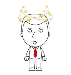 Businessman line cartoon with face flying stars sp vector