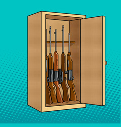 cabinet with guns pop art vector image