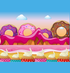 Candy land with donuts and pink ocean vector