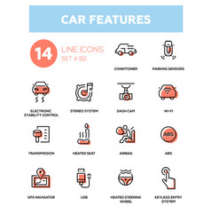 Car features - line design icons set vector