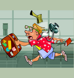 cartoon eccentric tourist man with a suitcase vector image