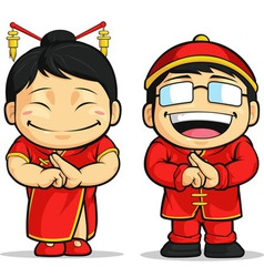 Cartoon of Chinese Boy Girl vector image