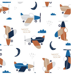 childish seamless pattern with retro aircrafts vector image