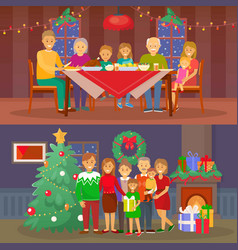 Christmas family people dining by table vector