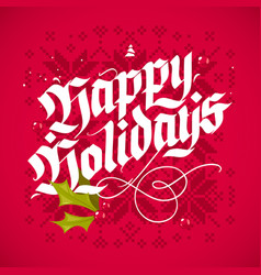 christmas lettering greeting card vector image