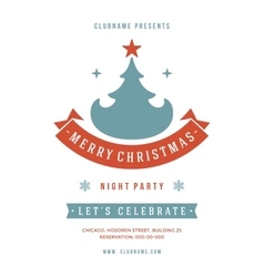 Christmas party invitation retro typography and vector image