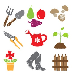 Colored gardening icons - tools and plants vector image