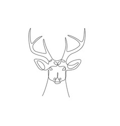 continuous one line deer head with horns stock vector image
