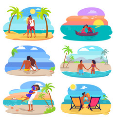 Couples in love seaside set vector
