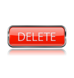 Delete button square red button with chrome frame vector