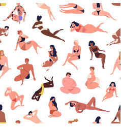 different figure multiracial body positive people vector image