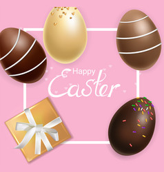 easter card with chocolate eggs realistic vector image