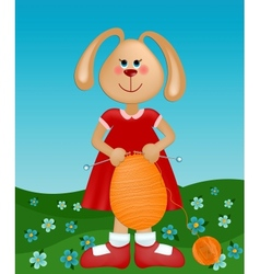 Easter greetings card with rabbit knitting the egg vector