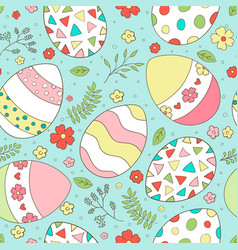 easter seamless pattern with spring flowers vector image