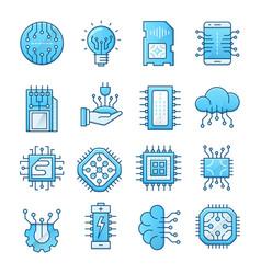 electronics blue icons set vector image