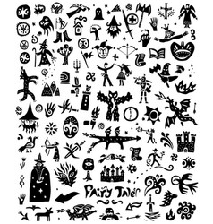 Fairy tale history - doodles silhouettes sign vector