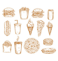 fast food sketch icons burger hamburger sandwich vector image