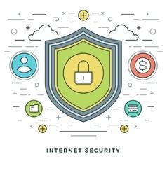 Flat line Business Concept Internet Security vector