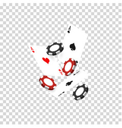 flying casino chips and playing cards aces are vector image