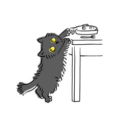 Funny grey cat stealing fish off table vector