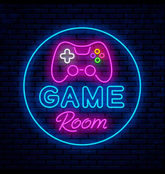Game room neon sign design vector