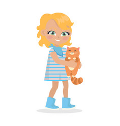 Girl holds small cat in hands isolated on white vector