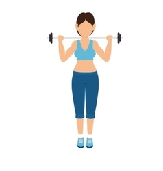 Girl lifting weights exercise vector