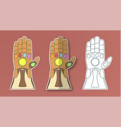 Glove thanos with 6 gems in sticker paper cut vector