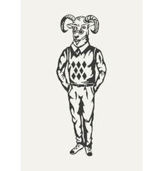 goat hipster Black and white vector image