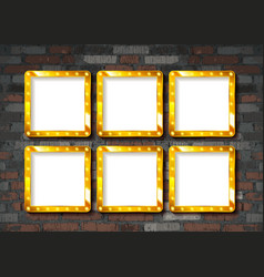 gold frame on brick wall vector image