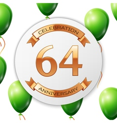 Golden number sixty four years anniversary vector image