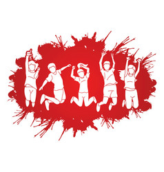Group children jumping on splatter ink vector