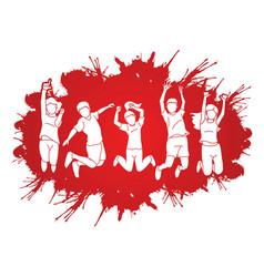 group children jumping on splatter ink vector image