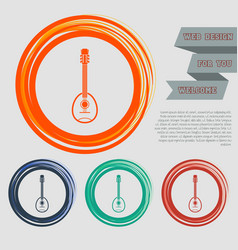 guitar music instrument icon on the red blue vector image