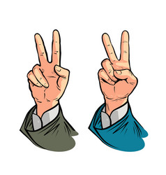 hand gesture of victory or peace vector image