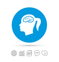 head with brain sign icon female woman head vector image
