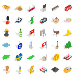Homeland icons set isometric style vector