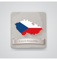 Icon of Czech Republic map with flag vector image