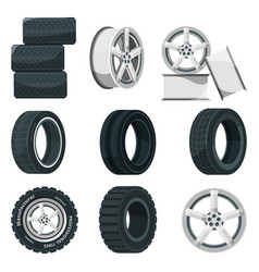 icon set different disks for wheels and tires vector image