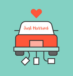 Just married sign on wedding car vector