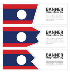 Laos flag banners collection independence day vector