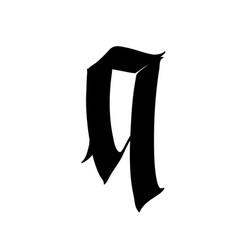 Letter q in gothic style alphabet symbol vector