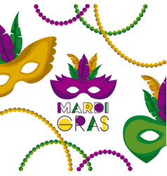 mardi gras poster with several carnival mask with vector image