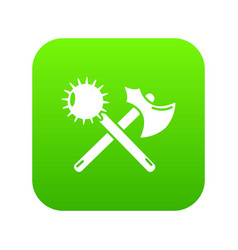 Medieval axe and mace icon green vector