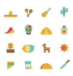 Mexican culture symbols flat icons set vector